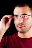 Hombre masculino con los vidrios Imagen de archivo libre de regalías