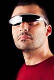 Hombre masculino con los vidrios futuristas Imagen de archivo
