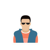Hombre masculino de Avatar del icono del perfil, historieta Guy Portrait, Person Silhouette Face casual del inconformista Imagen de archivo libre de regalías