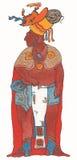 Hombre maya en capa del rojo y del oro y tocado ardiente Fotos de archivo