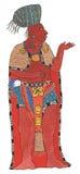 Hombre maya en capa del rojo y del oro y tocado trenzado azul Fotos de archivo libres de regalías