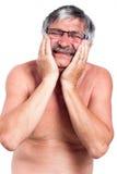 Hombre mayor con dolor de muelas doloroso Fotos de archivo libres de regalías