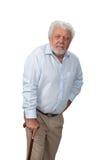 Hombre mayor con el bastón waling Fotografía de archivo libre de regalías