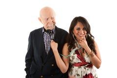 Hombre mayor con el compañero o la esposa del oro-cavador fotos de archivo