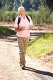 Hombre mayor en caminata del país foto de archivo libre de regalías