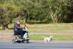 Hombre mayor en la silla de ruedas que es remolcada por el pequeño perro foto de archivo libre de regalías