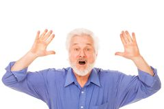 Hombre mayor enojado con la barba Imagen de archivo libre de regalías