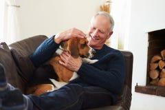 Hombre mayor que se relaja en casa con el perro casero Imágenes de archivo libres de regalías