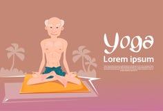 Hombre mayor que se sienta en la yoga Lotus Position Relaxing Doing Exercises stock de ilustración