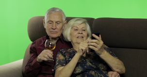 Hombre mayor y mujer envejecidos que se sientan junto en un sofá Trabajo en smartphone almacen de video