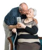 Hombre mayor y mujer mayor con el dinero Fotografía de archivo