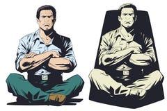 Hombre Meditating Ilustración común stock de ilustración