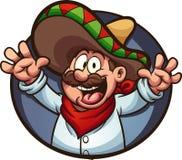 Hombre mexicano feliz con los brazos para arriba ilustración del vector