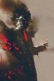 Hombre misterioso con el sombrero que sostiene un cigarrillo stock de ilustración