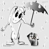 Hombre misterioso en la lluvia ilustración del vector