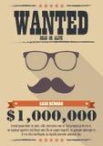 Hombre más deseado con el bigote y el cartel de los vidrios Imágenes de archivo libres de regalías