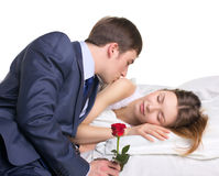 Hombre, mujer y rosa del rojo Fotografía de archivo