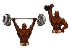 Hombre muscular de la historieta que levanta pesos pesados Imagen de archivo