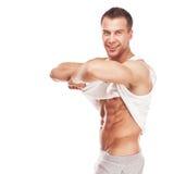 Hombre muscular joven hermoso de los deportes foto de archivo