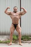 Hombre muscular que dobla los músculos Imagenes de archivo