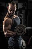 Hombre muscular que levanta algunas pesas de gimnasia fotos de archivo libres de regalías