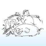 Hombre musical con el cerdo Imágenes de archivo libres de regalías