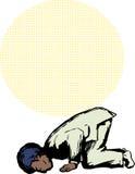 Hombre musulmán en la posición del rezo de Sajdah stock de ilustración