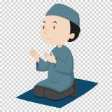 Hombre musulmán que ruega en la estera azul Fotografía de archivo libre de regalías