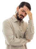Hombre muy preocupante con dolor de cabeza Imagenes de archivo