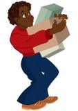 Hombre negro de la historieta en el suéter rojo que sostiene las cajas Foto de archivo libre de regalías