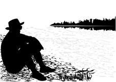 Hombre negro de la silueta stock de ilustración