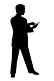 Hombre negro de la silueta en blanco Imagenes de archivo