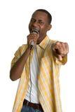 Hombre negro del Karaoke Fotos de archivo libres de regalías