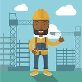 Hombre negro que se coloca delante de la grúa de construcción ilustración del vector