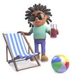 Hombre negro relajado con los dreadlocks el día de fiesta con el deckchair y la bebida, ejemplo 3d ilustración del vector