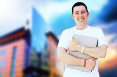 Hombre o estudiante feliz Imágenes de archivo libres de regalías
