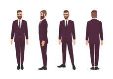 Hombre o vendedor barbudo hermoso vestido en traje de negocios elegante Personaje de dibujos animados masculino sonriente aislado stock de ilustración