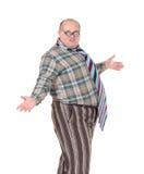 Hombre obeso con un sentido de moda indignante Fotos de archivo libres de regalías