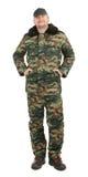 Hombre orgulloso en chaleco de los militares. Fotos de archivo