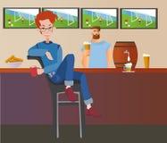 Hombre pelirrojo joven que se sienta en una barra de deporte Noche del estudiante hacia fuera Ilustration plano colorido del vect ilustración del vector