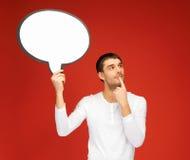 Hombre pensativo con la burbuja en blanco del texto Imagen de archivo libre de regalías