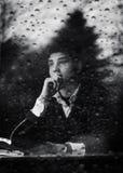 Hombre pensativo en un café Imagen de archivo