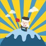 Hombre plano de éxito en la montaña superior stock de ilustración