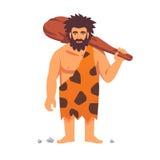 Hombre primitivo de la Edad de Piedra en la piel animal de la piel Imagen de archivo