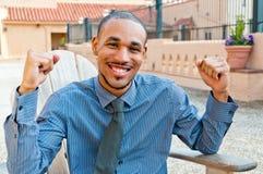 Hombre profesional joven victorioso Imagen de archivo libre de regalías