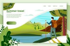 Hombre que acampa del ejemplo del vector, montañas, río ilustración del vector