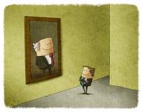 Hombre que admira el retrato de su precursor Imagen de archivo