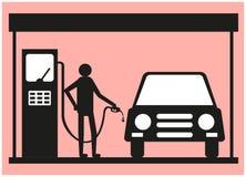 Hombre que aprovisiona de combustible un coche en una gasolinera ilustración del vector