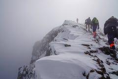 Hombre que asalta el top de la montaña imagen de archivo