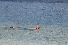 Hombre que bucea en el mar que lleva pantalones cortos azules Imagen de archivo libre de regalías